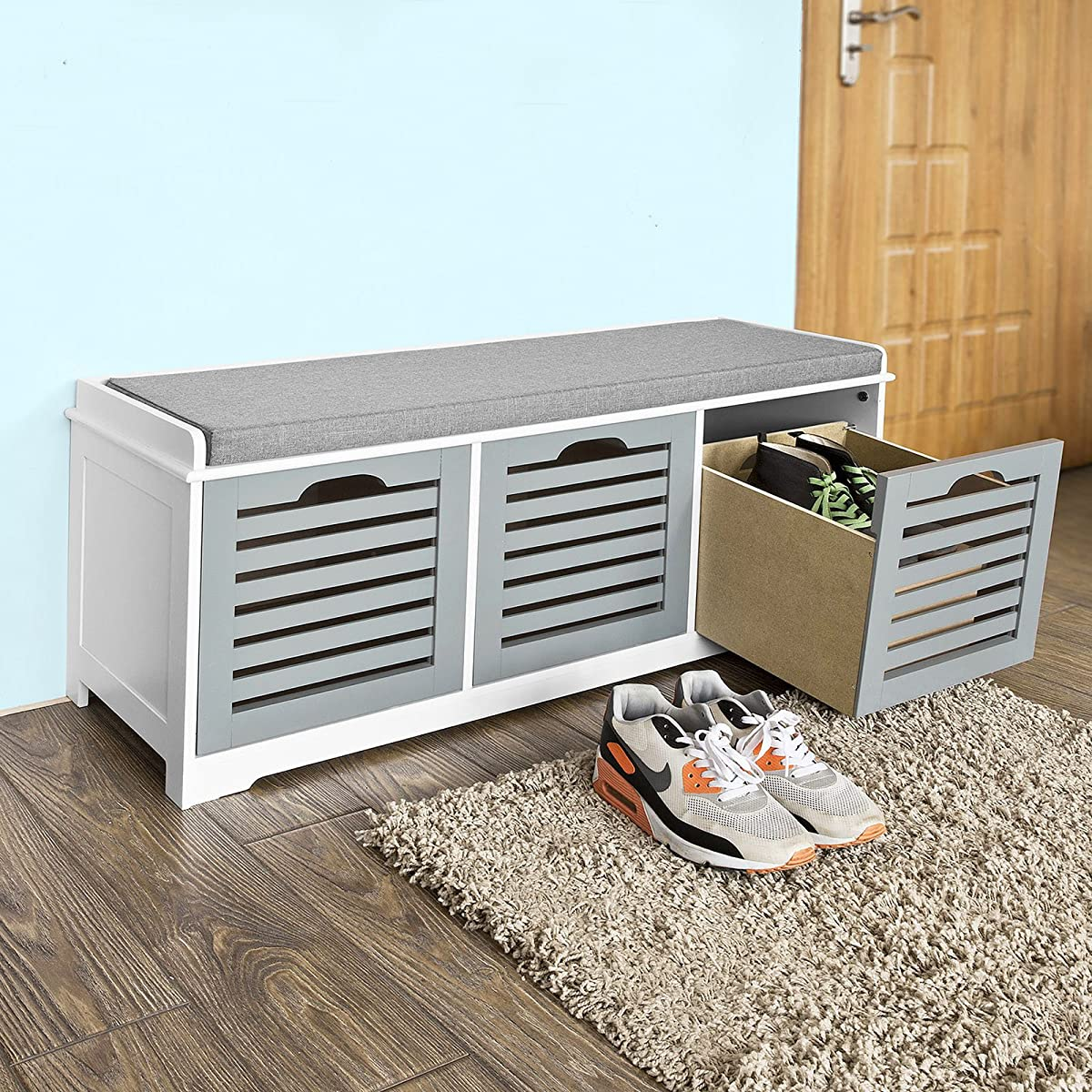 Sobuy storage bench with storage compartment shoe bench shoe cabinet fsr23 hg Shoe cabinet bench