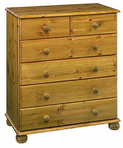 Oestergaard Woking - Cassettiera con 4 cassetti grandi e 2 piccoli, in legno di pino effetto anticato, dimensioni 82 x 91 x 39 cm