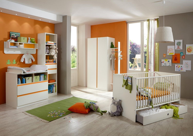 Babyzimmer mit Bett 70 x 140 cm alpinweiss/ orange günstig online kaufen