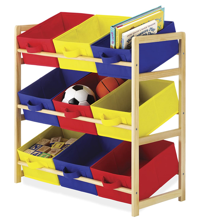 kids storage toys bins box book shelf wood stand fun playroom bedroom