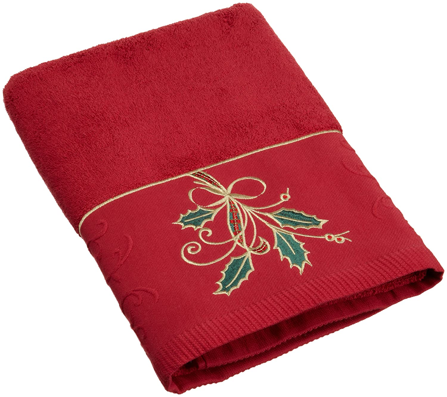 Ribbon and Holly Embroidered Bath Towel