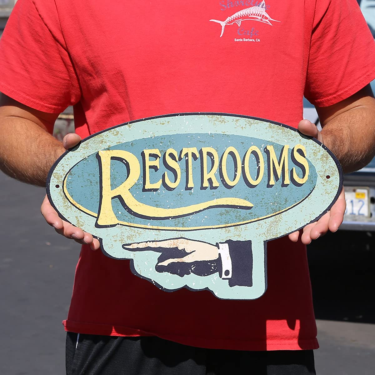Handcrafted Vintage Restroom Left Pointing Hand Steel Sign