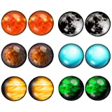 LilMents 6 Pairs Solar System Galaxy Universe Unisex Mens Womens Stainless Steel Stud Earrings (Set B) (Color: Set B)