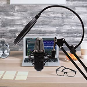 Professional Studio Condenser Microphone with Adjustable Recording Microphone Stand for Laptop, PC and Smartphone