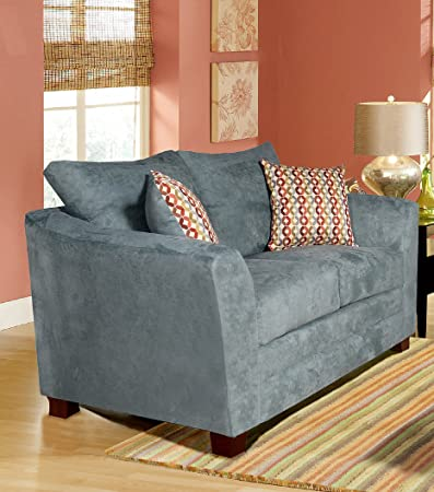 Chelsea Home Furniture Barbara Loveseat, Montana Lagoon/Collage Carnival Pillows