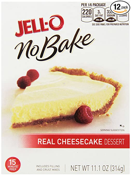 Jell-O No-Bake Real Cheesecake Dessert, 11.1-Ounce Boxes (Pack of 12)
