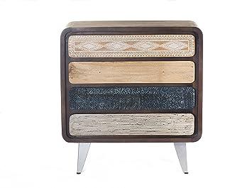 The Wood Times Kommode Schrank Massiv Vintage Look, Mangoholz Massiv, BxHxT 85x88x38 cm
