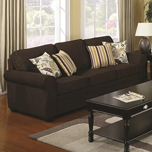 Coaster Home Furnishings Casual Sofa, Dark Brown