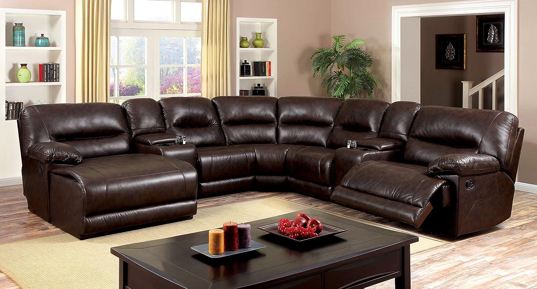 Leather Corner Sofa Set: Deluxe Sofa Leather Corner Sectional Set Recliner