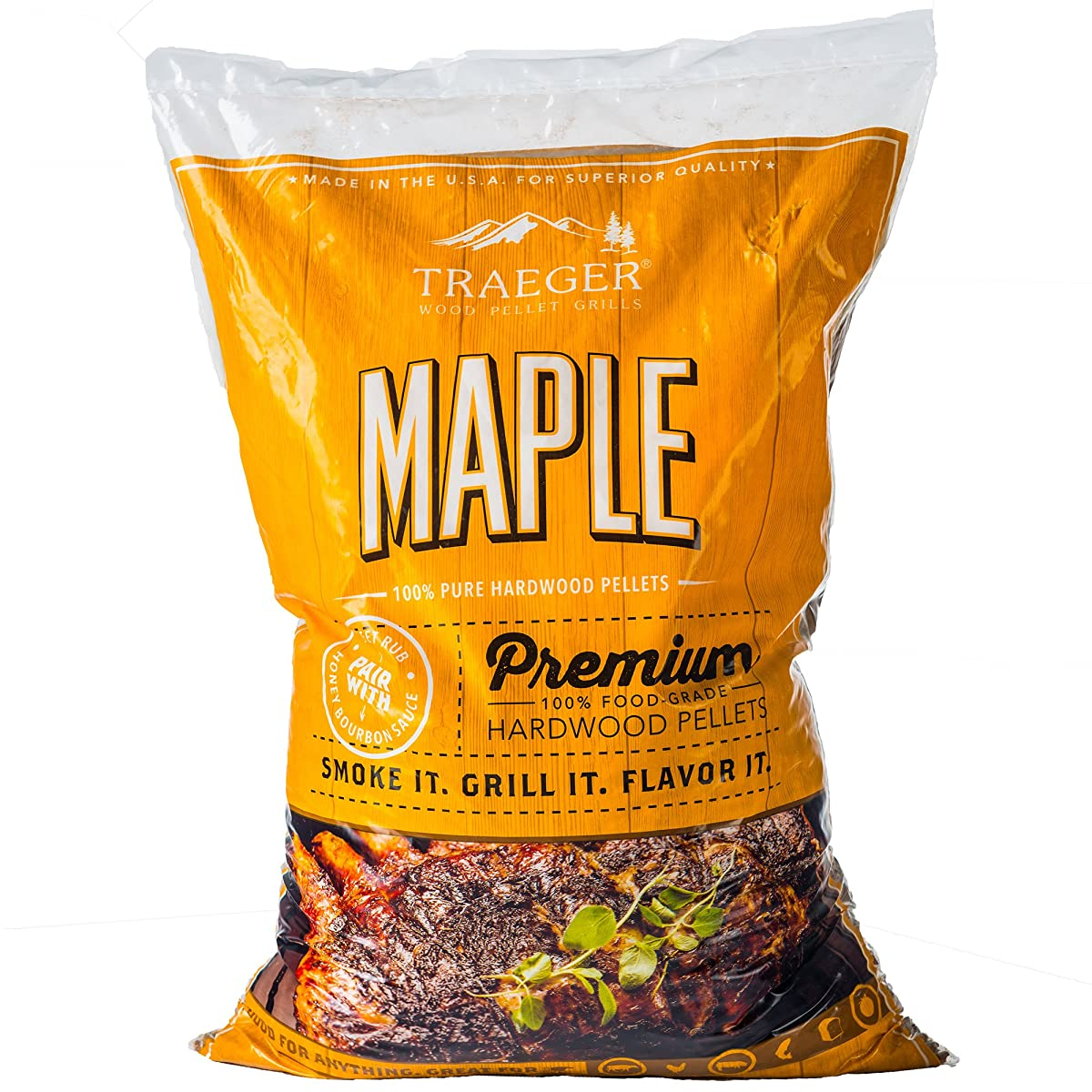 Traeger Grills Maple 100% All-Natural Hardwood Pellets - Grill, Smoke, Bake, Roast, Braise, and BBQ (20 lb. Bag)