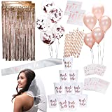Rose Gold Pink Bachelorette Party Supplies Decorations Kit | Balloons, Backdrop, Cups, Straws, Tattoos, Sash, and Veil (Color: Rose Gold)