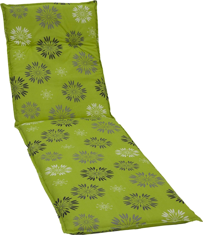 Gartenstuhlkissen Polster Sesselkissen Stuhlkissen Sitzkissen für Gartenliege hellgrün Motiv Pusteblumen grau weiss