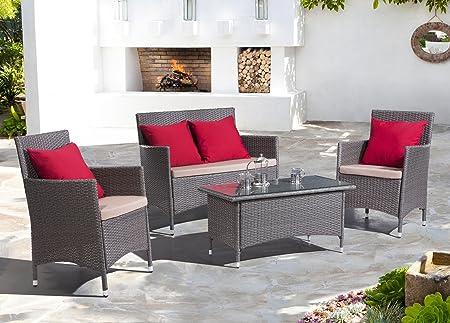 ZUO Stinson Beach Living Furniture Set, Grey/Red/Beige