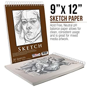 U.S. Art Supply 9 x 12 Premium Heavy-Weight Paper Spiral Bound Sketch Pad, 90 Pound (160gsm), Pad of 30-Sheets (Pack of 2 Pads) (Tamaño: 9 x 12)