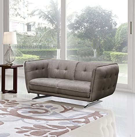 US Pride Furniture Lucas Fabric Loveseat, Brown