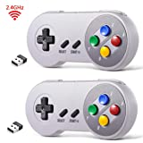 2 Pack 2.4 GHz Wireless USB Controller Compatible with Super Famicom Games, iNNEXT SNES Retro USB PC Super Classic Controller for Windows PC MAC Linux Genesis Raspberry Pi Retropie (Multicolored Keys) (Color: Wireless Multicolored Keys)