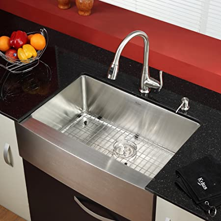 Kraus KHF200-30-KPF2230-KSD30SN Farmhouse Single Bowl Stainless Steel Kitchen Sink with Faucet & Soap Dispenser