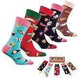Socks n Socks-Men 5 pk Colorful Cotton Novelty Sushi Fast Food Sock Gift Box