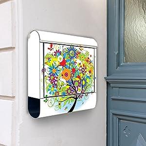 Design Briefkasten Edelstahl Briefkästen 38x42x11 von banjado mit Motiv Märchenzauberbaum   Kundenbewertung und weitere Informationen