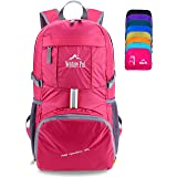 Venture Pal Ultralight Lightweight Packable Foldable Travel Camping Hiking Outdoor Sports Backpack Daypack (Fuschia) (Color: 09. Fuschia)