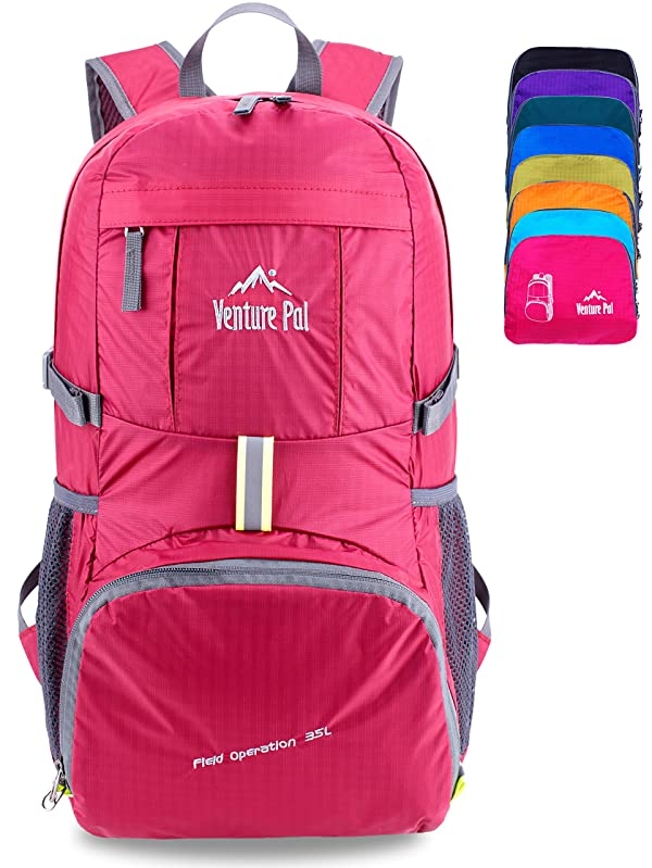 c3d95638682 Venture Pal Ultralight Lightweight Packable Foldable Travel Camping Hiking  Outdoor Sports Backpack Daypack (Fuschia) (Color  09.