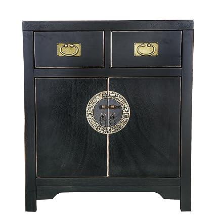 """SIT-Möbel 1854-11 Kommode """"Chinese"""", 70 x 42 x 80 cm, im Stil der Ming Dynastie, Pappel massiv schwarz lackiert"""