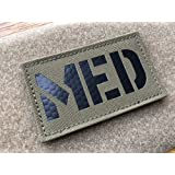2x3.5 Inch Coyote Brown Tan IR Infrared MED Medic EMS EMT Patch with Hook-Fastener Backing (Color: Coyote Brown)