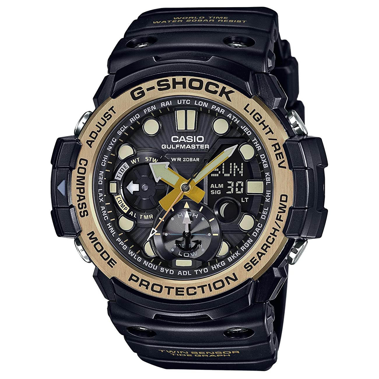 Men's Casio G-Shock Master of G Series Black and Vintage Gold-Tone Watch GN1000GB-1A 0