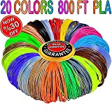 3D Pen Filament Refills 1.75mm PLA 20 Colors Total 800 Feet, 40 Feet Each-Mega Kit/Set with Individual Packs for 3D Drawing/Printing Pens and Printers (Color: PLA 20 COLORS 800 FEET)