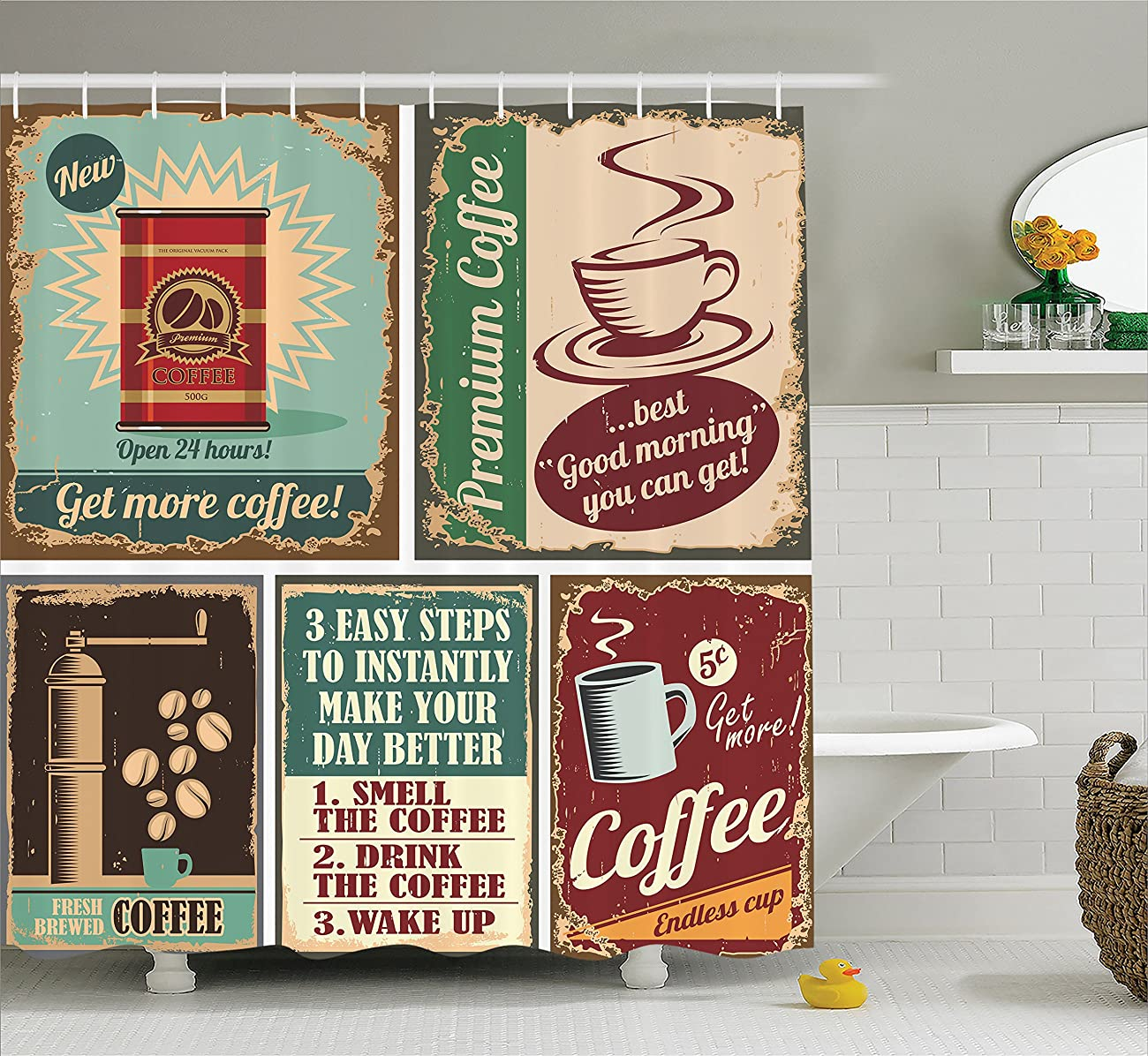 Ambesonne 1950s Decor Collection, Coffee Posters and Metal Signs Artistic Design Bean Cup Tin Espresso Mug Cappuccino Logo, Polyester Fabric Bathroom Shower Curtain Set with Hooks, Ivory Red Blue 0