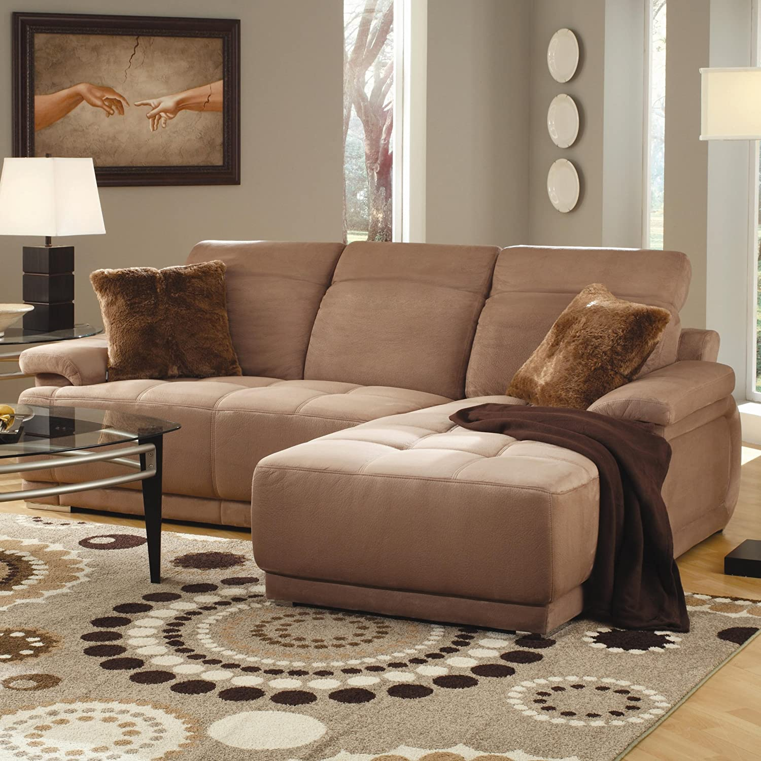 Klara Adjustable Headrest Sectional in a Soft Tan Microfiber by Generations