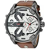 Diesel Men's DZ7394 Mr. Daddy 2.0 Gunmetal IP Brown Leather Watch (Color: Brown)