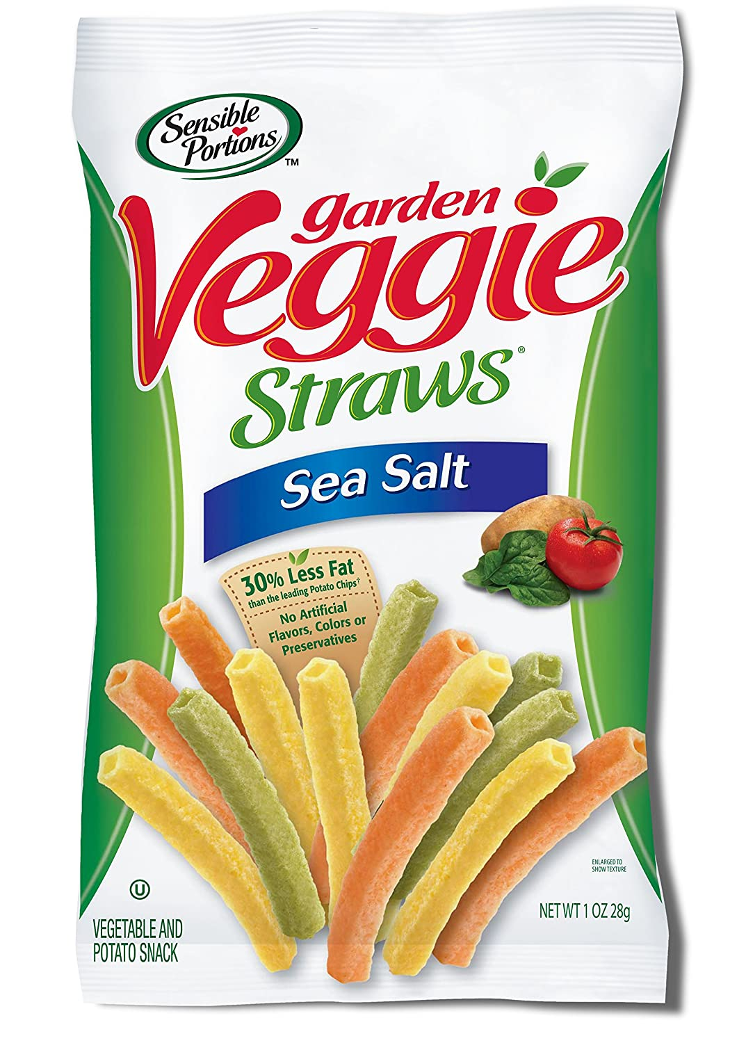 Sensible Portions Garden Veggie Straws, Sea Salt, 1 Ounce