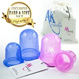 Anti Cellulite Silicone Vacuum Massage Therapy Suction Cupping Cups - Set of 4 ( 2 large + 2 Medium ) Hard & Soft CUP for Cellulite Remover & Body Massage Treatment (Color: Blue, Purple, Tamaño: 2 Large 2 Medium)