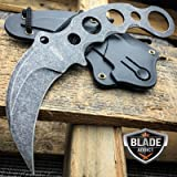 TACTICAL STONEWASH COMBAT KARAMBIT NECK KNIFE Survival Hunting BOWIE Fixed Blade
