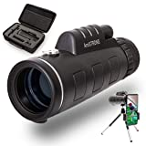 Armstrong 10x42 Zooming Monocular Telescope with Smartphone Photography Accessories - High Definition Zoom Prism Lens Scope for Hunting Bird Spotting - Compatible with iPhones - Samsung - Android