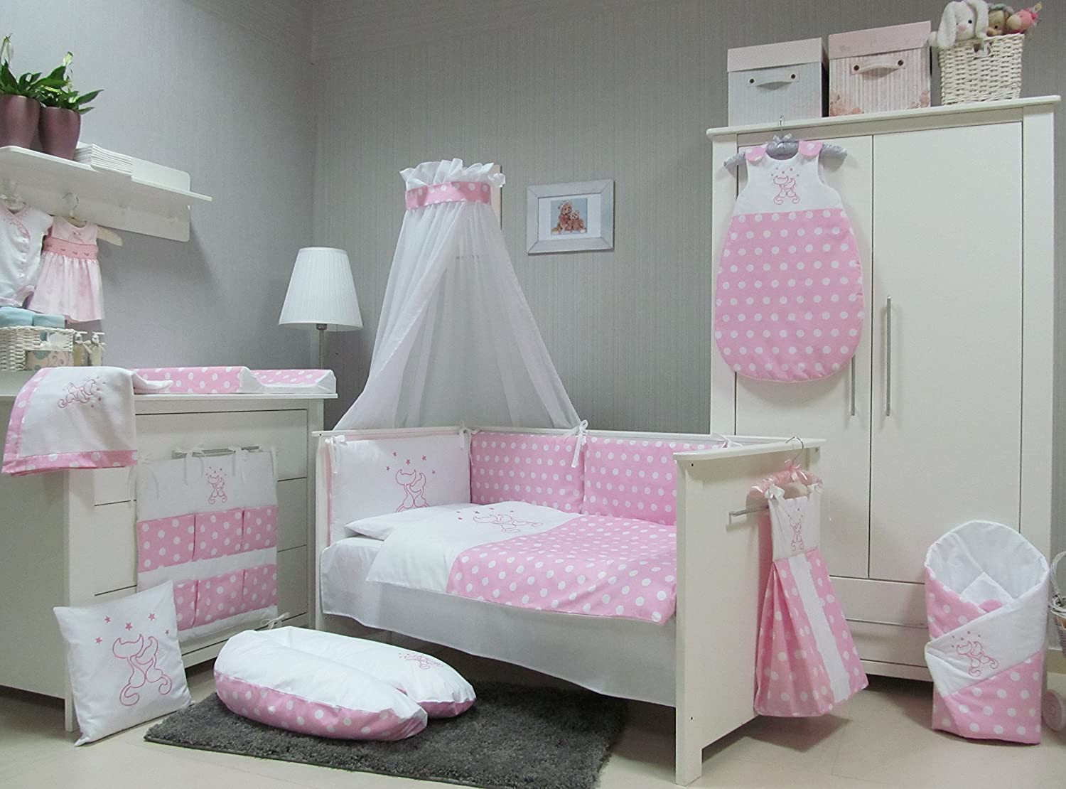 baby bettw sche set punkte cats 4tlg bett set 135 100 voile babybett 140 70 ebay. Black Bedroom Furniture Sets. Home Design Ideas