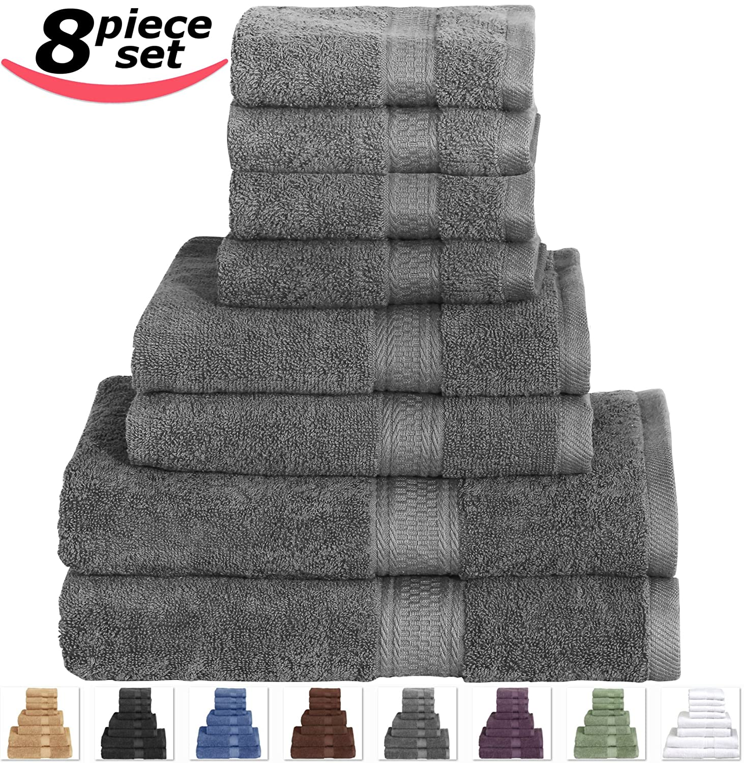 Cotton Bath Towel Set Grey - 8 Piece includes 2 Bath Towels, 2 Hand Towels, and 4 Washcloths - By Utopia Towels