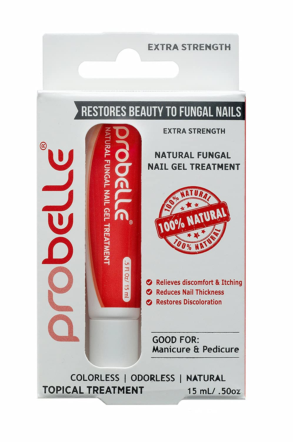 "Probelle ""Extra Strength"" Natural Fungal Nail Gel Treatment, Anti Fungus Nail Treatment, Restores Toenail Fungus, Clear, .5 oz/ 15mL (Patented Formula)"