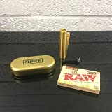 Clipper Gold Metal Lighter + Raw 300's Organic Hemp Papers (Color: Gold)