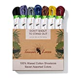Toucan Laces Dress Shoe Laces for Men in [7 Pairs] of Round Waxed Shoelaces – 100% Cotton – Black Shoe Laces, Brown Shoe Laces, Blue Shoe Lace, Gray Shoelace, Yellow, Burgundy, Purple Shoe Strings (Color: Black/Blue/Brown/Grey/Purple/Red/Yellow, Tamaño: 35 inches (90cm))