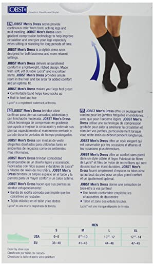 JOBST Mens Dress Knee High Closed Toe Compression Stockings, Professional Quality, Stylish Legware for All Day Comfort, with Elegant Rib Design, Compression Class- 8-15 (Color: Khaki, Tamaño: X-Large)