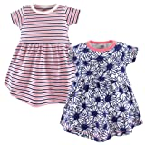 Touched by Nature Baby Girls' Organic Cotton Dress, 2 Pack, Daisy, 0-3 Months (3M)