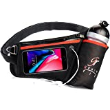 GeoRo Fit Hydration Running Belt With Insulated Water Bottle Holder | Multipurpose Fanny Waist Pack | Fuel Belt for Men and Women | Water Belt for Runners Fits Iphone X 6 7 8 Plus by