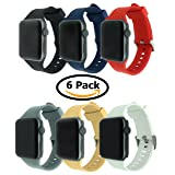 6 Pack Bands for Apple Watch, Soft Silicone Sport Strap Replacement Bracelet Wristband for Series 3, Series 2, Series 1, Nike+, Edition (Multicolor 2, 42mm) (Color: Multicolor 2, Tamaño: 42mm)