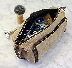 DOPP Kit Mens Toiletry Travel Bag YKK Zipper Canvas   Leather (Medium,  Khaki - 3 days shipping) ... d457c55aa4