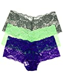 3 Pack Juniors Cotton Cantina Lace Hipster Boyshort Panites (Small, Lime/Grey/Purple)