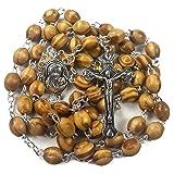 Nazareth Store Catholic Prayer Rosary Olive Wood Beads Necklace Holy Soil Medal & Metal Cross Velvet Gift Bag (Color: Brown, Tamaño: 1.6