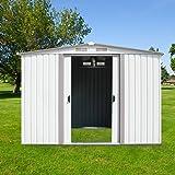 Kinbor New 8' x 6' Outdoor White Steel Garden Storage Utility Tool Shed Backyard Lawn Building Garage w/Sliding Door