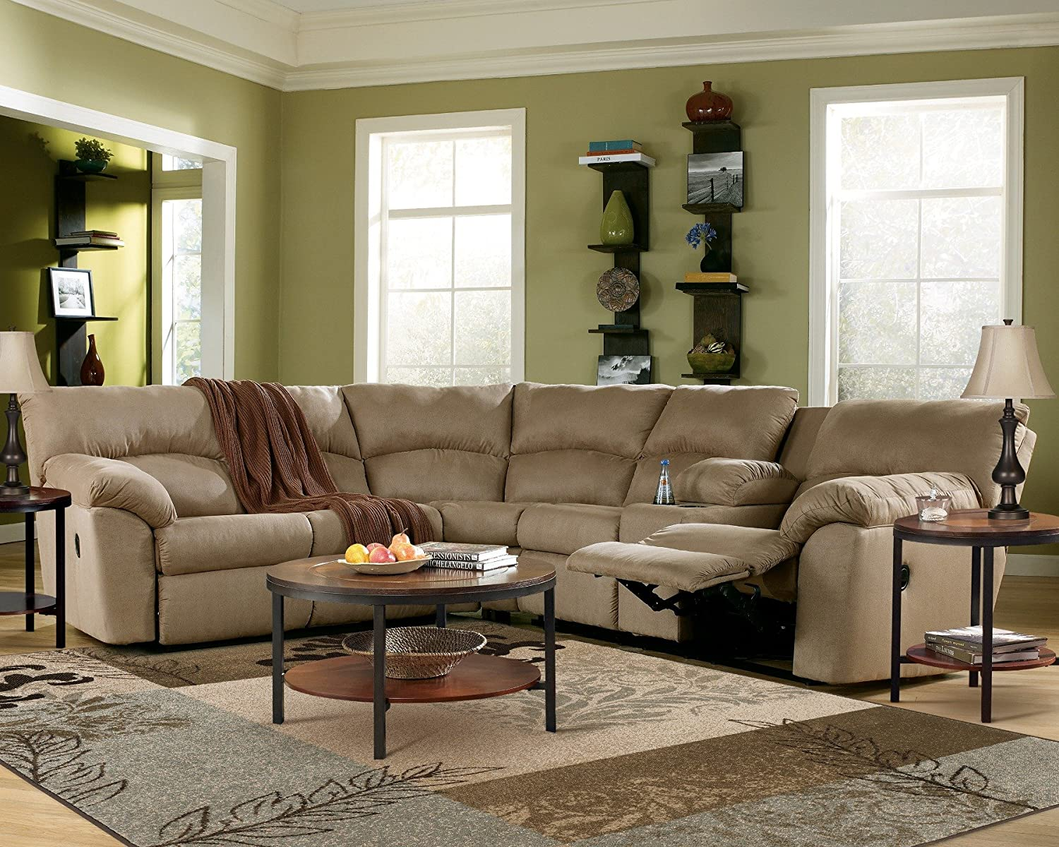 Amazon Mocha Reclining Sectional Sofa